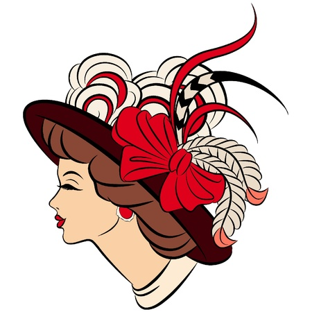 classic woman: Chica de moda vintage en el sombrero. Vectores