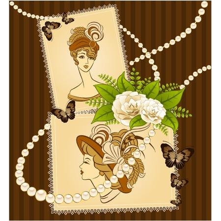 antique nails: Vintage fashion girl in hat. Illustration