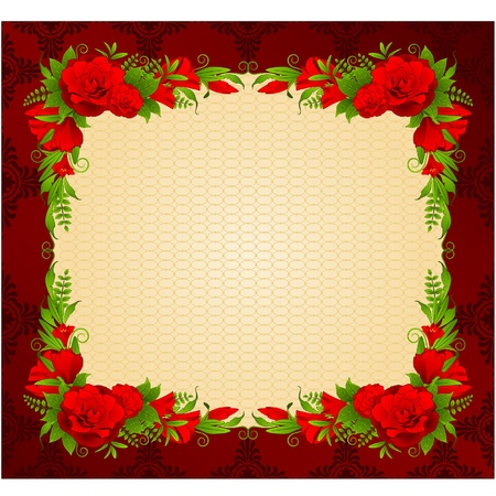 Flowers with tapestry ornaments on background. Stock Vector - 11295087