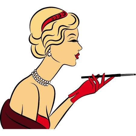 Vintage fashion girl with cannon-bit Ilustrace