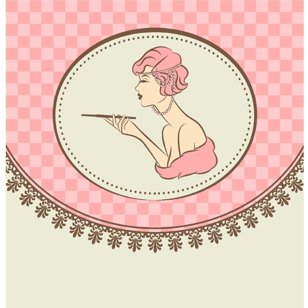 Vintage fashion girl with cannon-bit Vector