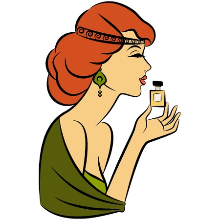 Vintage fashion girl with perfume Vector