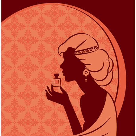 Vintage fashion girl with perfume. Vector