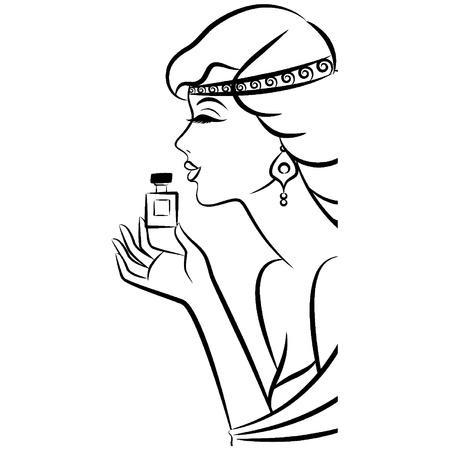 divas: Chica de moda del vintage con perfume. Vectores