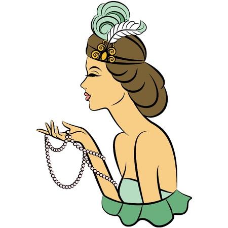 Chica de moda del vintage con panes