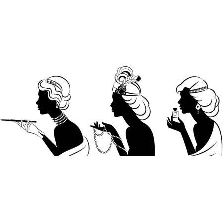 classic woman: Chica de moda del vintage con ca��n de bits y el perfume y los granos. Vectores