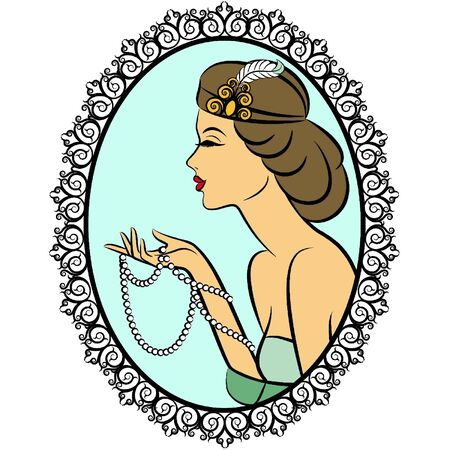 Vintage fashion girl with breads Vector