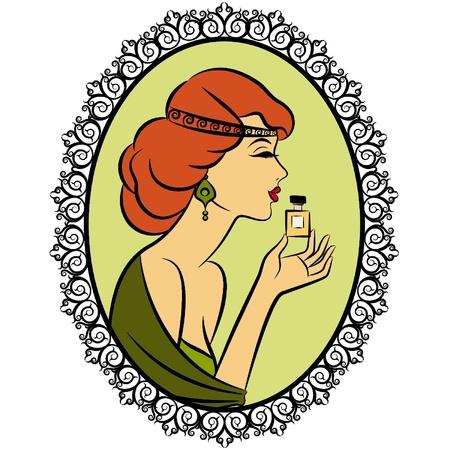 香水とビンテージのファッションの女の子