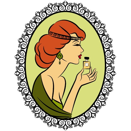 Vintage fashion girl with perfume