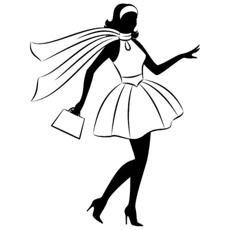 Vintage silhouette of girl . Vector