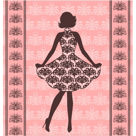 Vintage silhouette of girl .