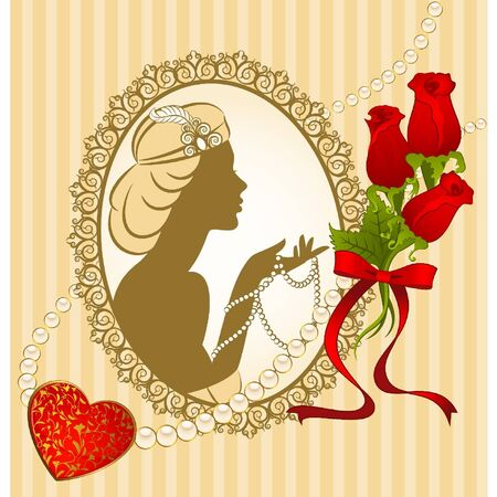 Vintage fashion girl with breads and flowers Vector