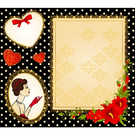 Vintage fashion girl with red glove. Vector Vector