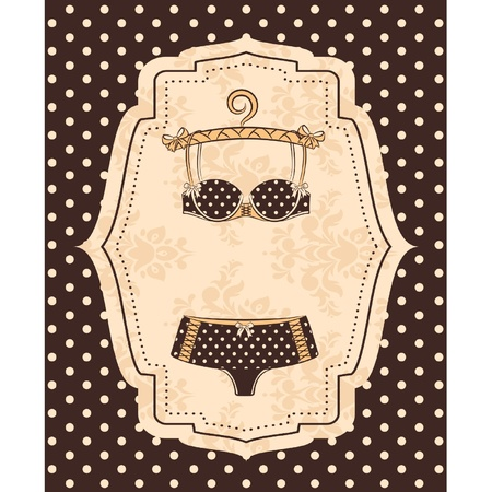 Vintage underlinen on ornament background. Vector