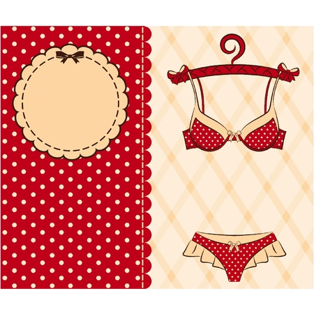 briefs: Vintage underlinen on ornament background.  Illustration