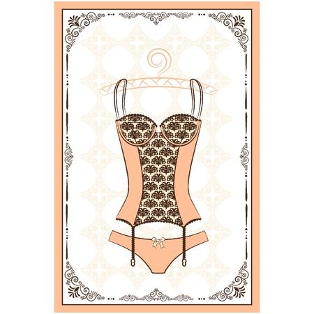 Vintage underlinen on ornament background. Stock Vector - 11295091