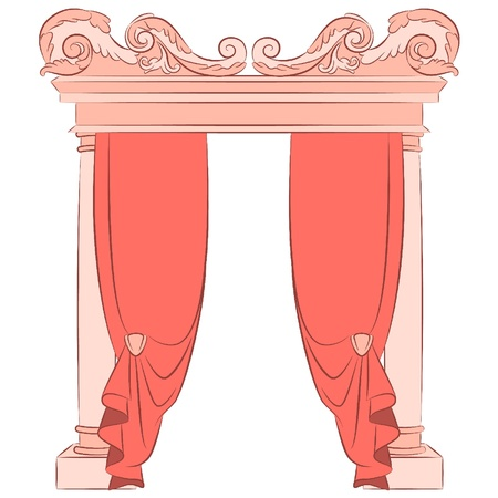 The vintage arch with curtain Vector