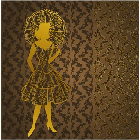 Vintage silhouette of girls Vector