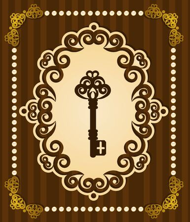 Vintage Antique Key tapestry background. Stock Photo - 11679327