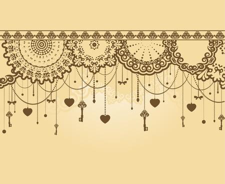 Vintage Antique Key tapestry background. Stock Photo - 11679328