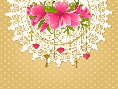 Flowers with lace ornaments on background. photo
