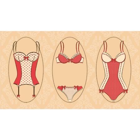 corsetto: Corsetto vintage su sfondo ornamento.