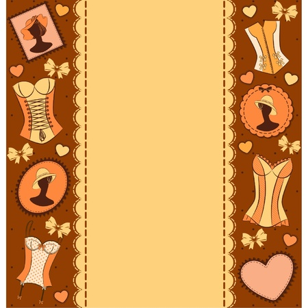 brassiere: Vintage corset on ornament background. Illustration