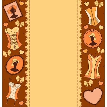 corset: Vintage corset on ornament background. Illustration