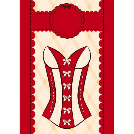 Vintage corset on ornament background. Vector