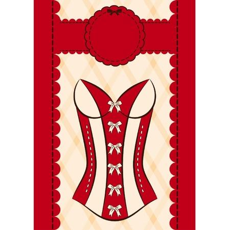 lace bra: Vintage corset on ornament background. Illustration