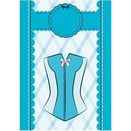 cowards: Vintage corset on ornament background. Illustration