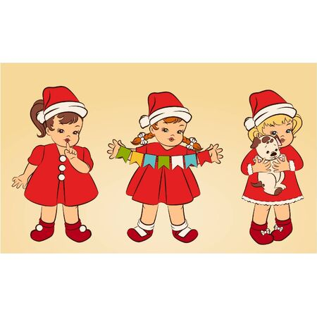 Cartoon little girls in suit Snow Maiden. Vector