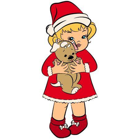 Cartoon little girl in suit Snow Maiden. Vector Stock Vector - 11656316