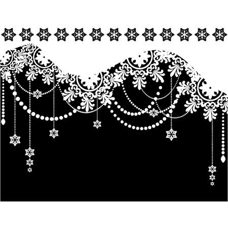 cadre noir et blanc: De fond l'hiver flocon de neige. Illustration
