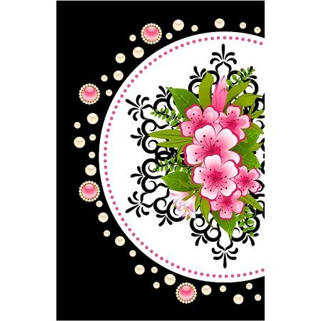 mazzo di fiori: Fiori con ornamenti in pizzo sullo sfondo. Vettore