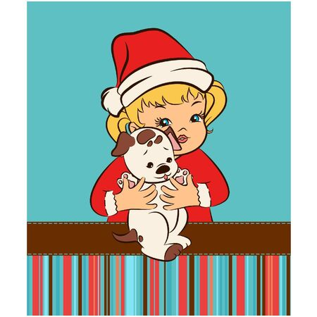 Cartoon little girl in suit Snow Maiden  with puppy. Vector