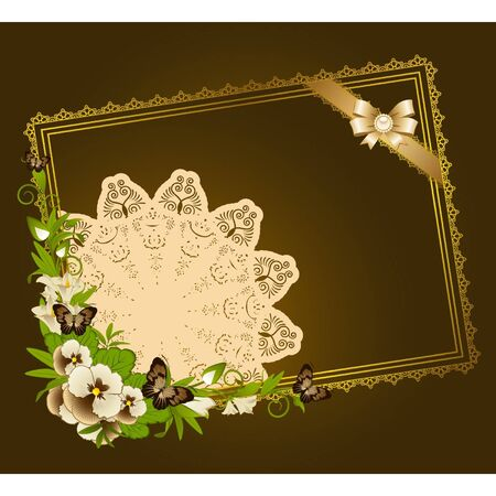 Flowers with lace ornaments on background. Vector