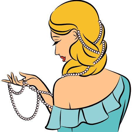 Vintage fashion girl with beads. Vector
