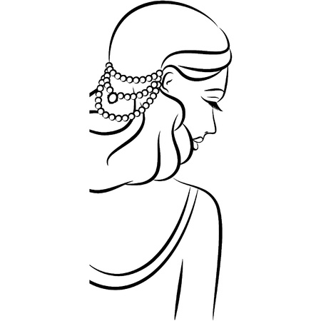 Vintage fashion girl with beads. Stock Vector - 11843172