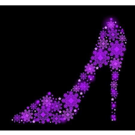 Snowflake womans shoe Vector