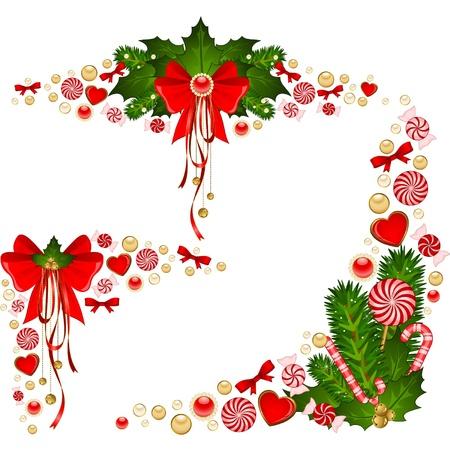 caramelos navidad: Fondo de Navidad con bast�n de caramelo. Vectores