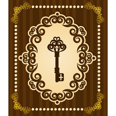 Vintage Antique Key tapestry background. Vector