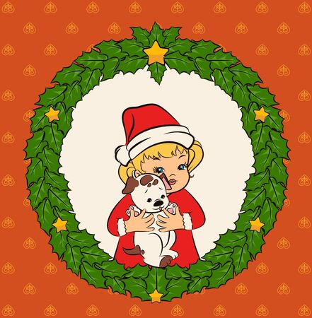 Cartoon little girl in suit Snow Maiden with puppy. Stock Photo - 11863394