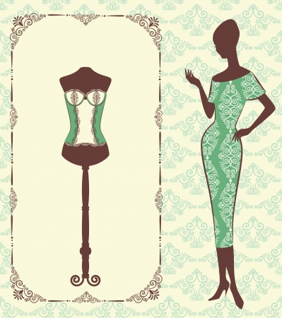 cowards: Vintage corset with beautiful ornament on the background.