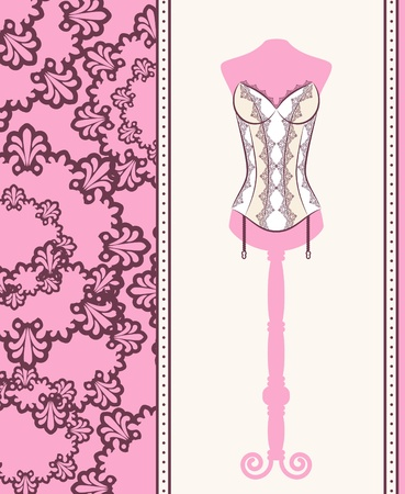 Vintage corset on ornament background. photo