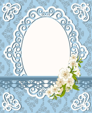 Vintage background with lace ornaments and flowers Stock Photo - 12081060