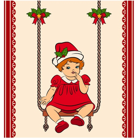 Cartoon little girl in suit Snow Maiden on the swings. Vector Vector