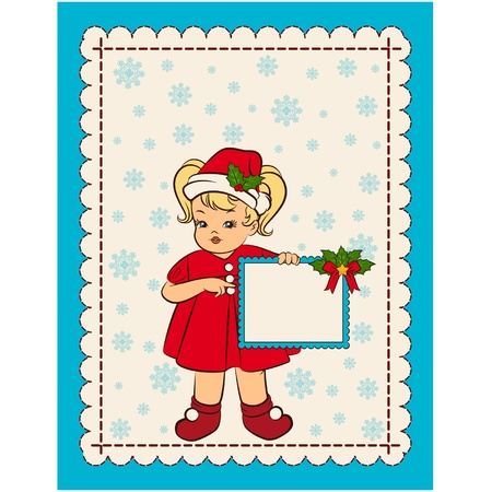 Cartoon little girl in suit Snow Maiden with banner. Vector Vector