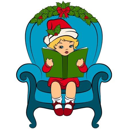 Cartoon little girl in suit Snow Maiden with book. Vector Vector
