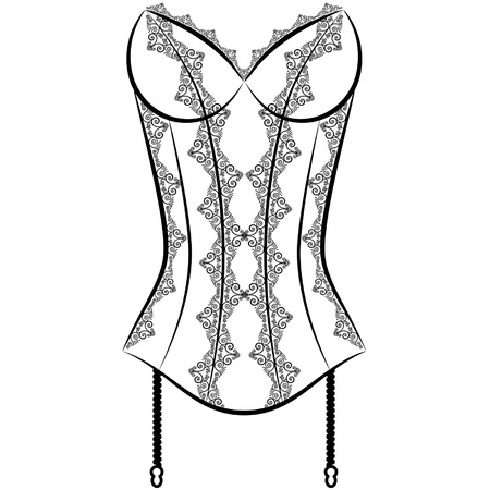 black woman lingerie: Vintage corset with beautiful ornament on the background. Vector